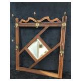 Wooden Hanging Wall Decor w/ Mirror & Metal Hooks