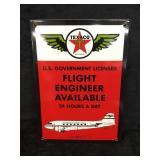 Texaco Flight Engineer Metal Sign