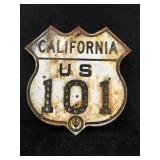 California US 101 Sign with Glass Reflectors