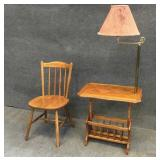 Wood Chair & End Table w/ Lamp & Magazine Rack