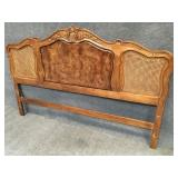 King Size Headboard with Carved and Caned Decor