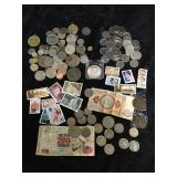 Mixed Lot of Coins(Foreign), Tokens, Paper Money