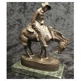 Bundled up Cowboy on Horse Bronze on Marble Base