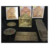 4 Brand New in Box Brass Business Card Holders,