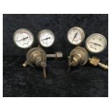 2 Brass Pressure Gauges made by Victor Equipment