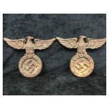 2 Cast Iron German War Eagle Swastika Plaques