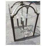 Large Chandelier Glass & Metal 4 Bulb