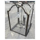 Large Chandelier Glass & Metal 3 Bulb