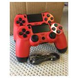 2 (Red) PlayStation 4 Controllers (New)