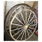(3) 39in Wood Wagon Wheels