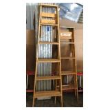 (2) Wood Household Folding Ladders