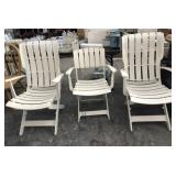 3-White Weather Resistant Plastic Patio Chairs