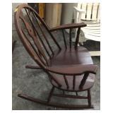 Vintage Brace Back Windsor Wood Rocking Chair