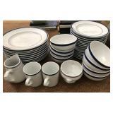 Brasserie Blue-Banded Porcelain Dinnerware Set