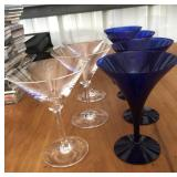 Crystal Clear & Blue Martini Glass Set of 7
