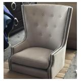 Grey Linen Wingback Studded Chair (Missing Legs)
