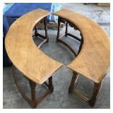 Wood Elbow Shaped Side Table (Set of 2)