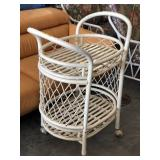 Wood Rolling 2 Tier Plant Stand- White