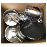 Box of Stainless Pots & Pans