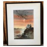 """Water Color Painting Print- """"Lake House Sunset"""""""