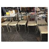 5ft White Metal Glass Top Patio Table & Chair Set