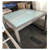 37in Square Frosted Glass Grey Metal Table