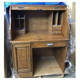 Secretary Oak Roll Top Desk With Key