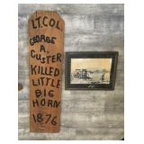 Vintage Custer Carved Wood Plaque & B&W Photo