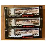 (3) Snap-On 1:64 Die-Cast Custom Tractor Trailer