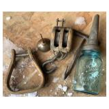 Vintage Farm Tools-Hay Hook,Pulley, Stirrup