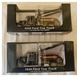 (2) 1934 Ford Tow Truck 1:43 Scale Die Cast