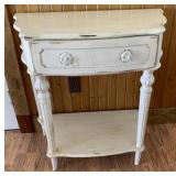White Reeded Leg Accent Table With Drawer