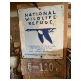 Vintage MT Plate & Wildlife Refuge Tin Sign