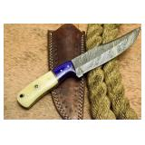 Custom Handmade Damascus Bowie Knife Camel Bone