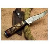 Custom Damascus Camel Bone Bowie Knife