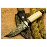 Handmade Damascut Hunting Knife Camel Bone