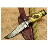 Custom Damascut Camel Bone Bowie Knife