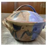 Handthrown Ceramic Bowl w/ Lid Signed by Artist