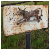 Metal Cow Garden Pole