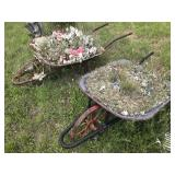 (2) Antique Wheel Barrels Garden Decor