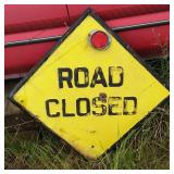 Antique Metal Sign Road Closed With Reflector