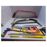 (2) Hand Saws, (3) Bow Saws & Grabber