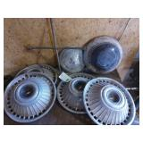 (4) Chevy Full Size Hubcaps, (1) Ford Dish &