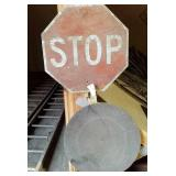 Tin Stop Sign & Man Hole Cover