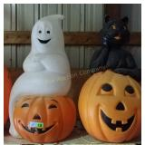 Blow Mold Ghost and Cat Halloween Decorations