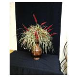 Beautiful fall arrangment with cattails in Metal