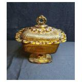 Amber colored candy dish or compote