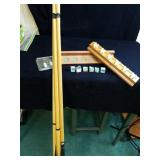 Pool sticks and pool stick rack with chalk and