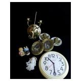 Clock, pictures, candle holder and misc