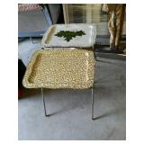 Pair of Vintage metal standing tray tables